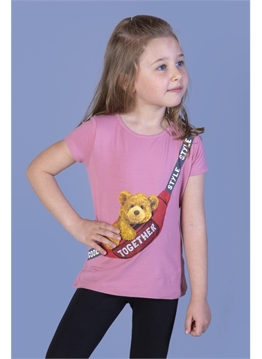 Toontoy Kids Toontoy Kız Çocuk Çanta Baskılı Tişört Renkli